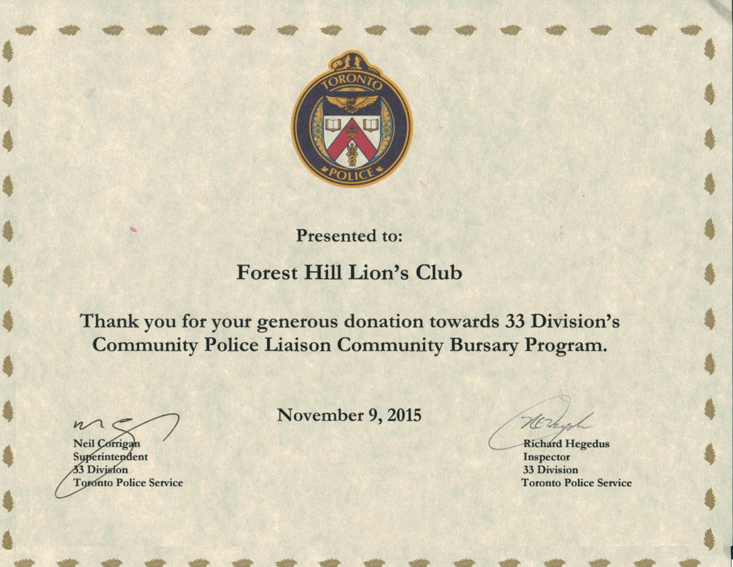 Forest Hill Lions Club receives certificate of appreciation from 33 Divisions's Community Police Liason Community Bursary Program