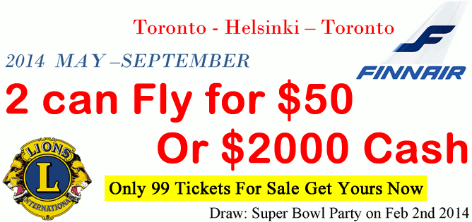 2 Can Fly Return to Helsinki for $50 or $2000 Cash Pay Raffle