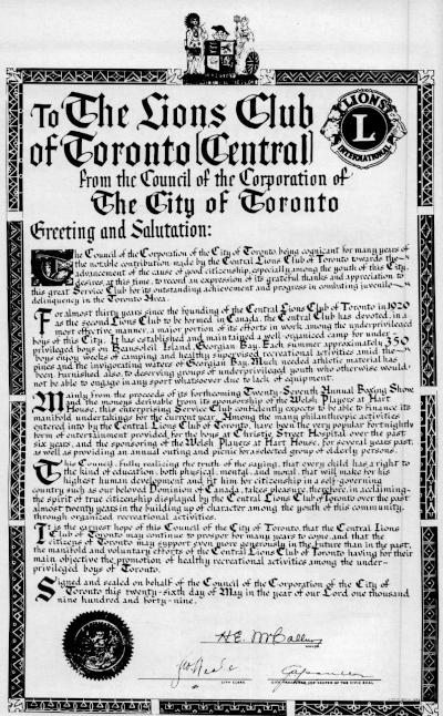 Toronto Central Lions Certificate from the City of Toronto