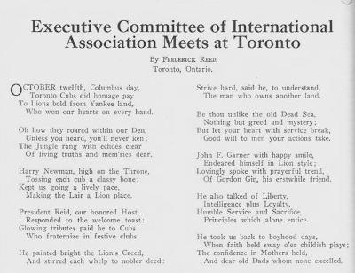 Toronto Central Lions Poem about Executive Meeing