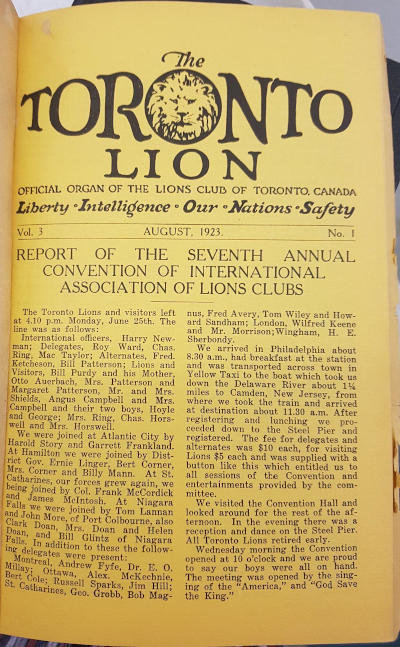 Toronto Central Lions The Toronto Lion magazine cover